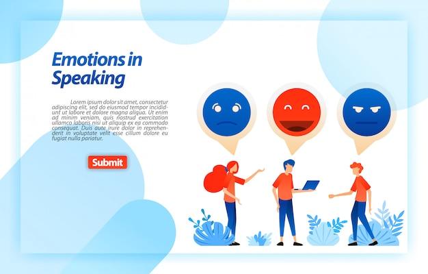 Entlüften sie und unterhalten sie sich mit emojis und emoticons. menschen kommunizieren, reden, diskutieren, reden probleme und spaß. zielseiten-webvorlage Premium Vektoren