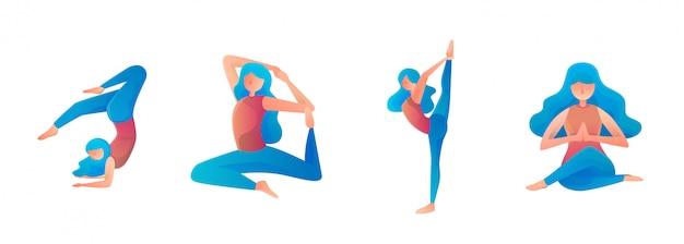 Entspannende website flache illustration des weiblichen yoga Premium Vektoren