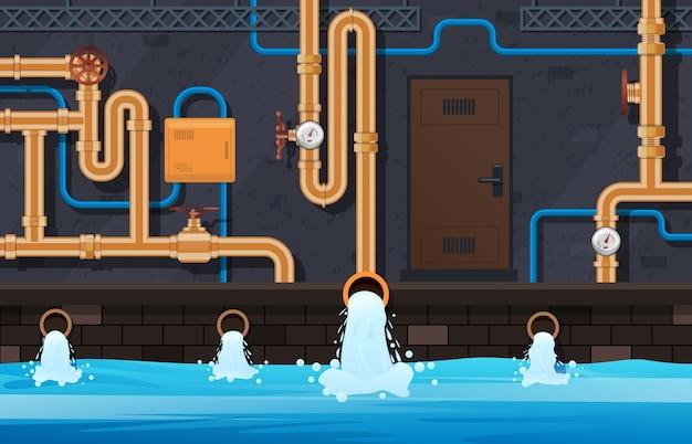 Entwässerungsrohrsystem. industrielle heizung, städtische kommunale wasserleitungen aufbereitungssystem service hintergrundillustration. entwässerungsleitung, industrierohrtechnik im keller Premium Vektoren