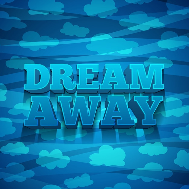 Entwerfen sie banner, poster, einladungen, broschüren mit text dream away und den hintergrund mit einem muster aus wolken. Premium Vektoren