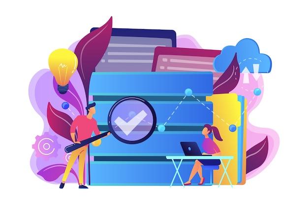 Entwickler mit lupe studieren datenanalyseillustration. Kostenlosen Vektoren