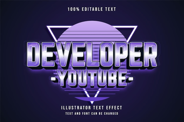 Entwickler youtube, 3d bearbeitbarer texteffekt blaue abstufung lila neon textstil Premium Vektoren