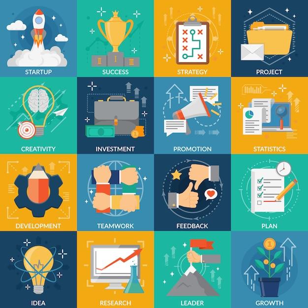 Entwicklung icons set Kostenlosen Vektoren