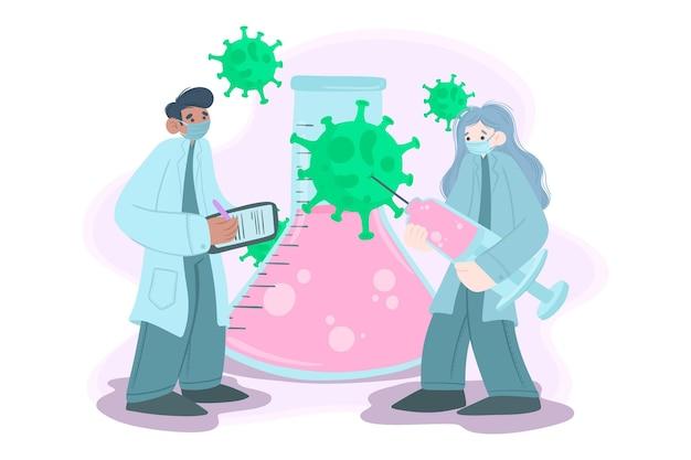 Entwicklungskonzept für coronavirus-impfstoffe Kostenlosen Vektoren