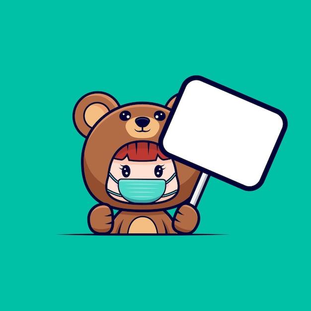 Entwurf des niedlichen mädchens, das bärenkostüm mit masker trägt und leere texttafel hält Premium Vektoren
