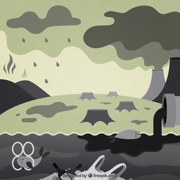 Entwurf des ökosystems und der verschmutzung in der flachen art Kostenlosen Vektoren