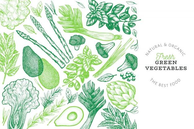 Entwurfsvorlage für grünes gemüse. Premium Vektoren