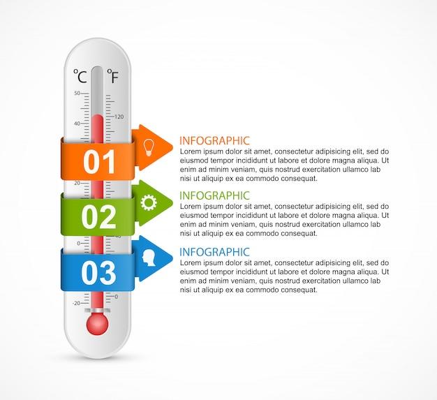 Entwurfsvorlage für infografiken-thermometer. Premium Vektoren