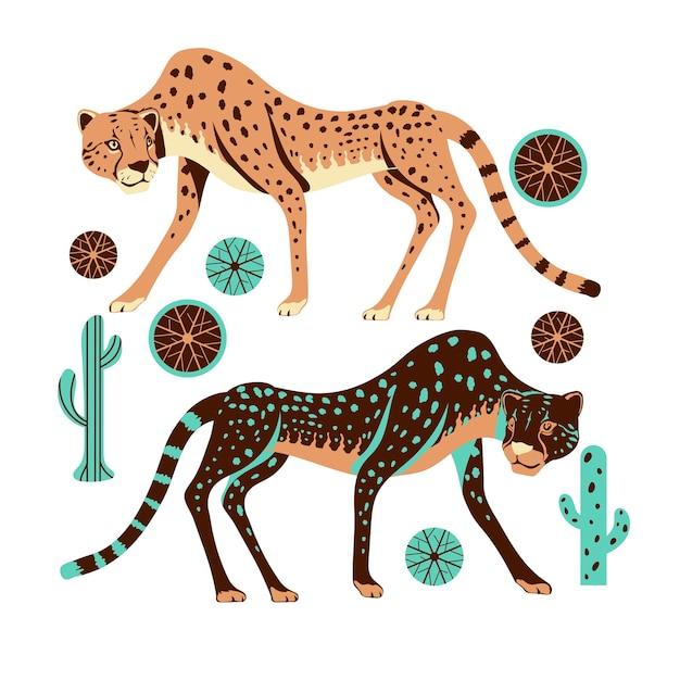 Entzückende gepardenjagd mit spinifex-gras und kaktus-illustration Premium Vektoren