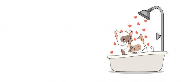 Entzückende katzen der fahne baden in der herzbadewanne Premium Vektoren