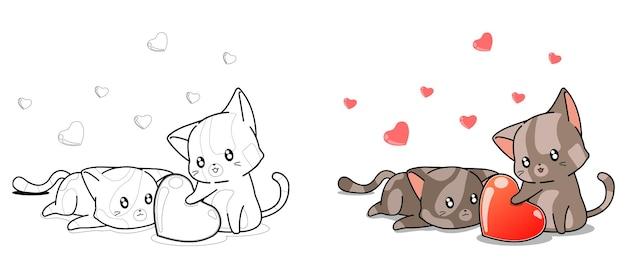 entzückende katzen suchen die herzkarikaturmalvorlagen