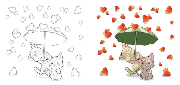 entzückende katzen und regen der liebe cartoon malvorlagen