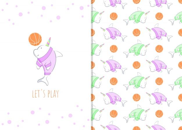 Entzückende kleine delfinkarikaturfigur mit basketball, illustration und nahtlosem muster Premium Vektoren