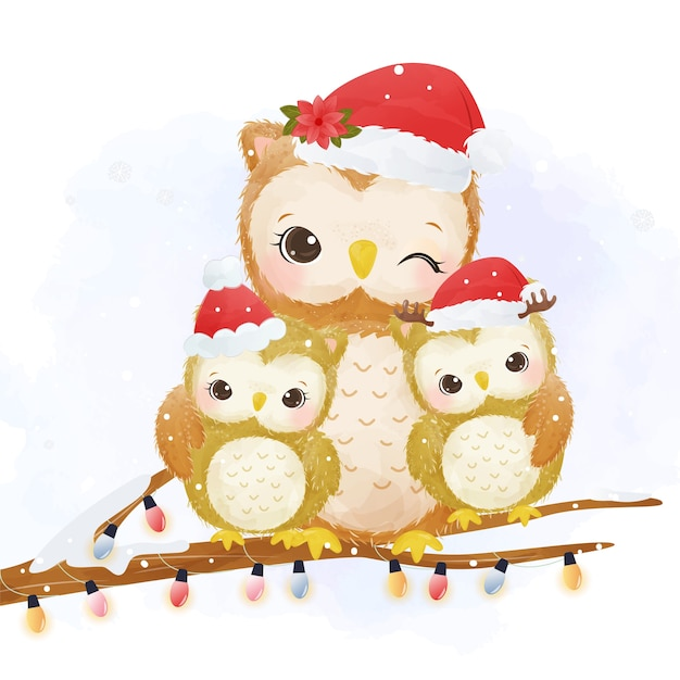 Entzückende mama und babyeule am weihnachtstag Premium Vektoren