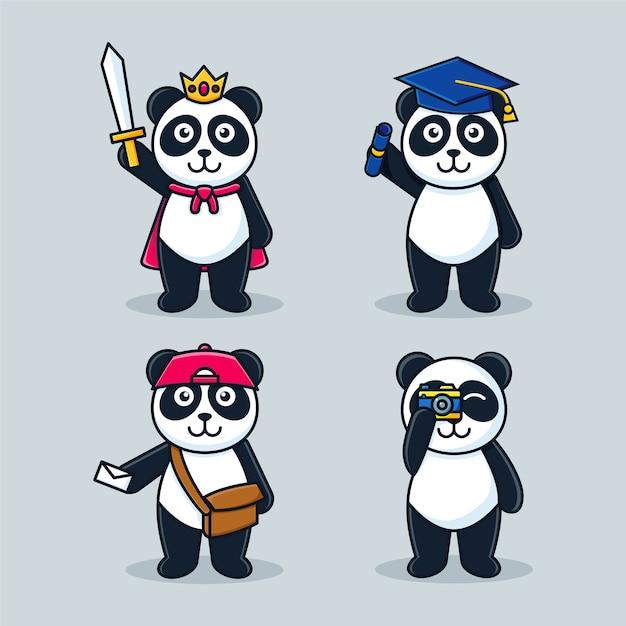Entzückende panda cartoon maskottchen set vorlage Premium Vektoren