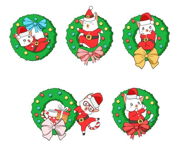 Entzückende sankt-katze mit einem weihnachtsblumenabzeichen Premium Vektoren
