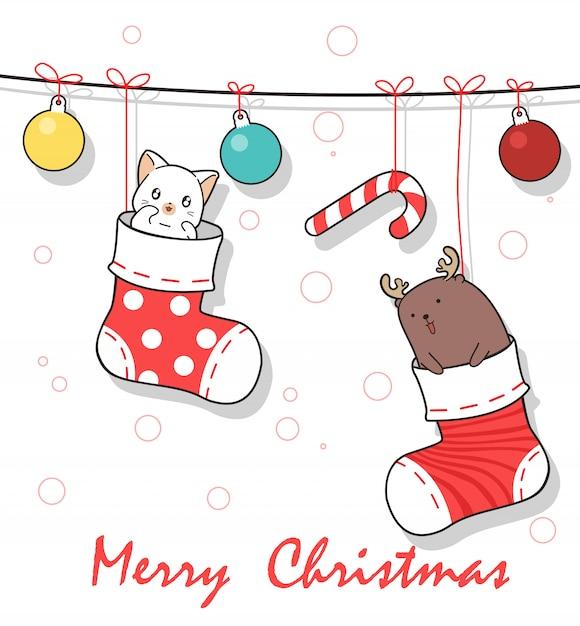 Entzückende tiere innerhalb der socken am weihnachtstag Premium Vektoren