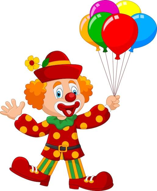 Entzückender clown, der buntes balloo hält Premium Vektoren