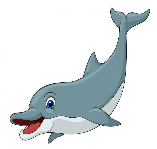 Entzückender delphin-cartoon Premium Vektoren