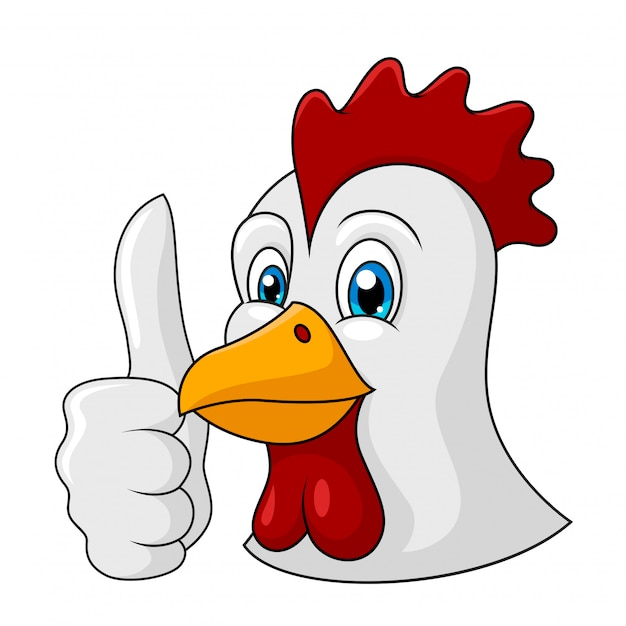 Entzückender hühnerkarikaturdaumen oben Premium Vektoren