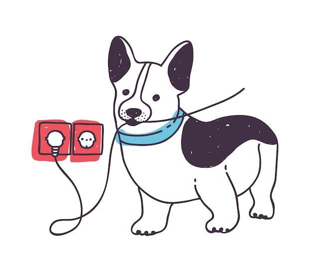 Entzückender hund, der drähte nagt oder isst Premium Vektoren