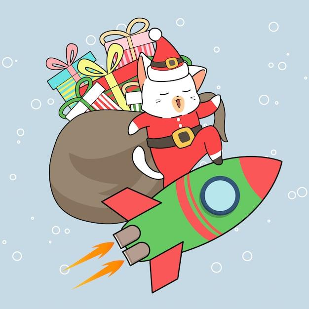 Entzückender sankt-katzencharakter mit geschenken reitet eine rakete Premium Vektoren