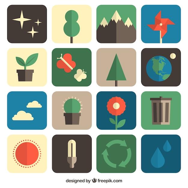 Environmental icons für tag der erde Kostenlosen Vektoren