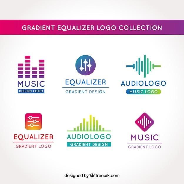 Equalizer-logo-sammlung mit farbverlauf stil Kostenlosen Vektoren
