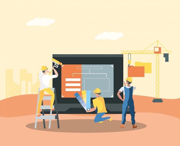 Erbauer und laptop mit der webseite im bau Premium Vektoren