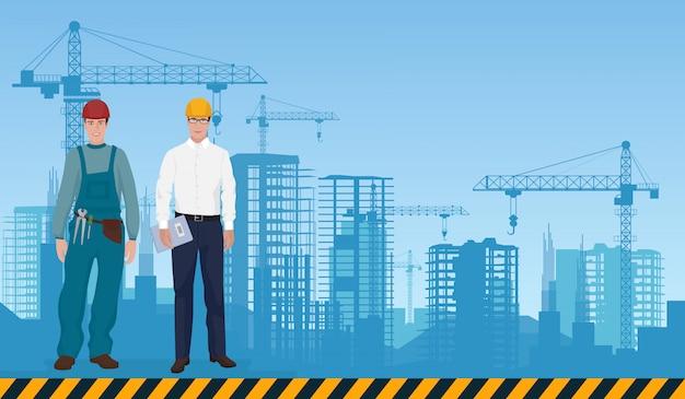 Erbauer und manager auf bauhintergrund Premium Vektoren