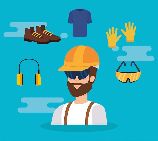 Erbauererbauer mit ausrüstung Premium Vektoren