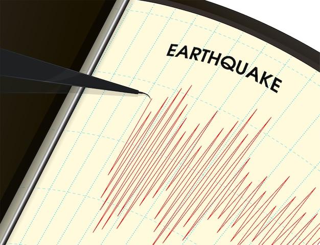 Erdbebenüberwachungstool die schwingungsmessung wird als rote linie dargestellt. Premium Vektoren
