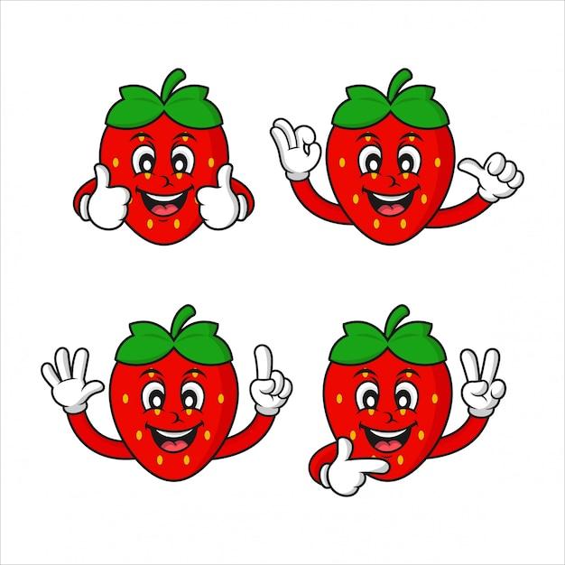 Erdbeer charakter design kollektion Premium Vektoren