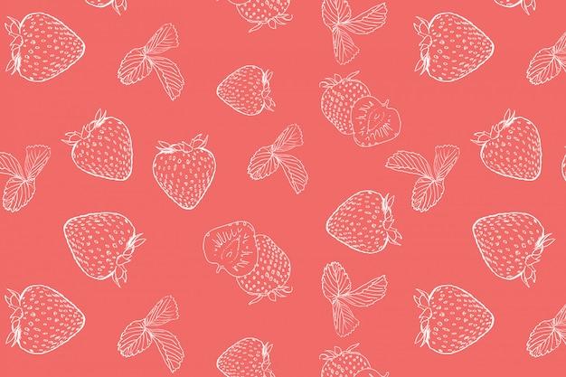 Erdbeer doodle nahtlose muster Premium Vektoren