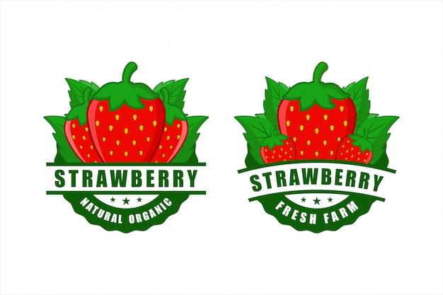 Erdbeer natürliche bio fram frische abzeichen design Premium Vektoren