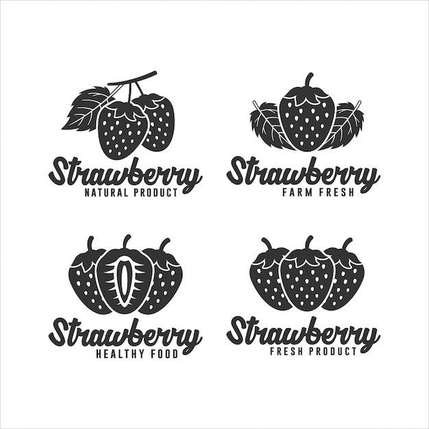 Erdbeer-produktlogo-sammlung Premium Vektoren