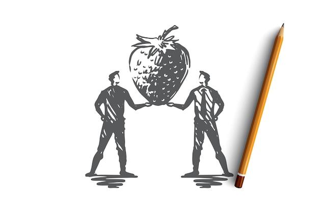 Erdbeere, anbau, landwirtschaft, obst, lebensmittelkonzept. hand gezeichnete organische erdbeerkonzeptskizze. illustration. Premium Vektoren