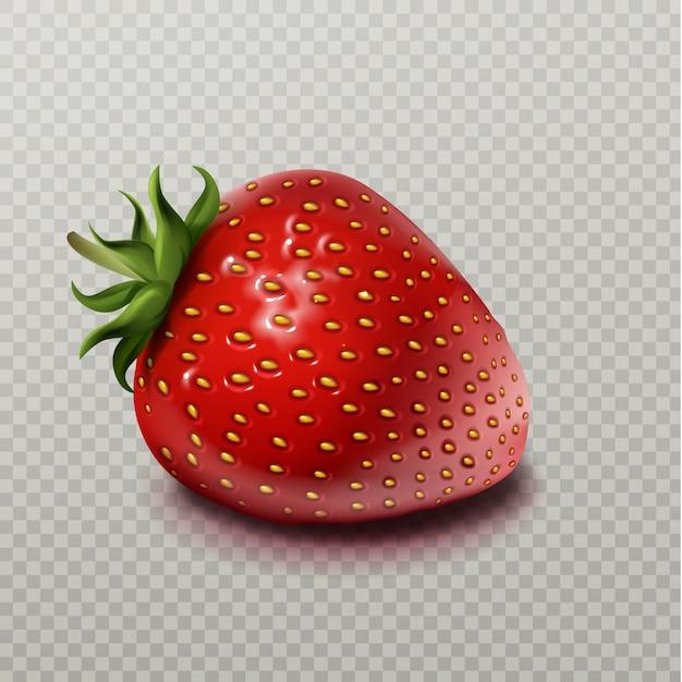 Erdbeere mit dem grünen blatt getrennt auf transparentem Kostenlosen Vektoren