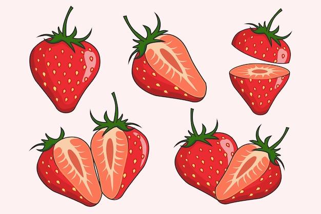 Erdbeerfruchtsammlungen set Premium Vektoren