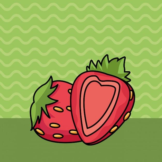 Erdbeerhälfte schnitt fruchtkarikatur Kostenlosen Vektoren