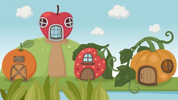 Erdbeerhaus und kürbishaus und orange haus Premium Vektoren