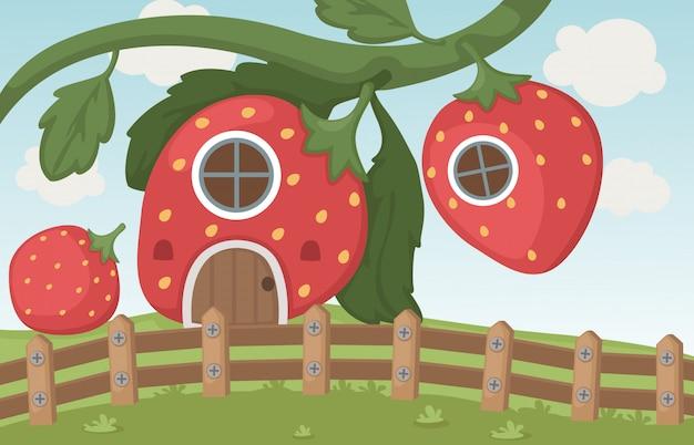 Erdbeerhaus Premium Vektoren