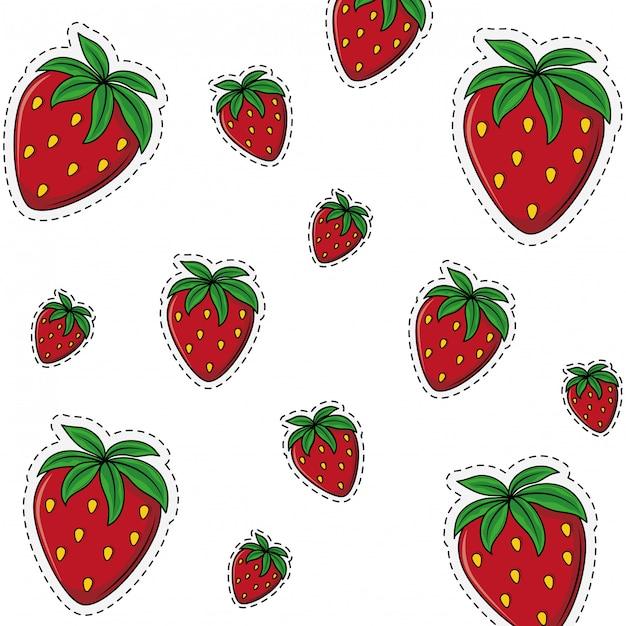 Erdbeersüßer fruchthintergrund Premium Vektoren