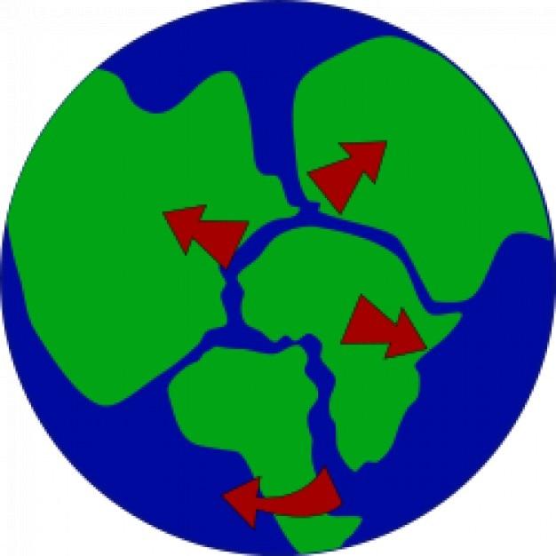 Erde mit kontinenten aufbrechen Kostenlosen Vektoren