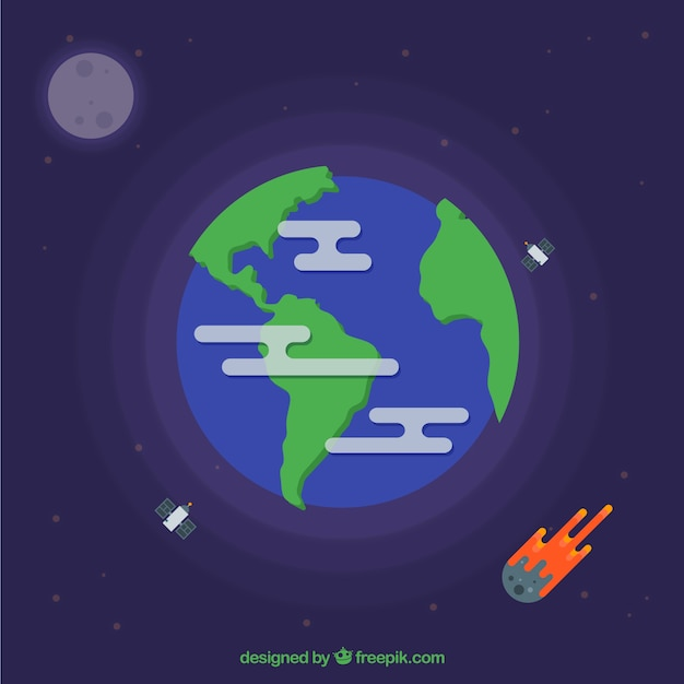 Erde mit satelliten und meteoriten Kostenlosen Vektoren