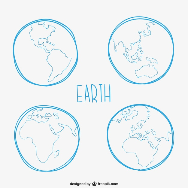 Erde skizzen Kostenlosen Vektoren