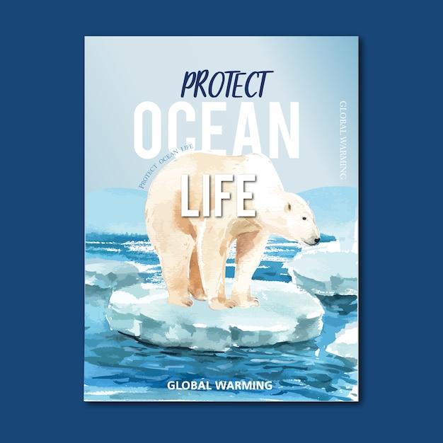 Erderwärmung und umweltverschmutzung. plakatfliegerbroschüren-werbekampagne, speichern die weltschablone Kostenlosen Vektoren