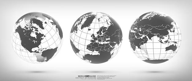 Erdkugel mit kontinenten festgelegt Premium Vektoren