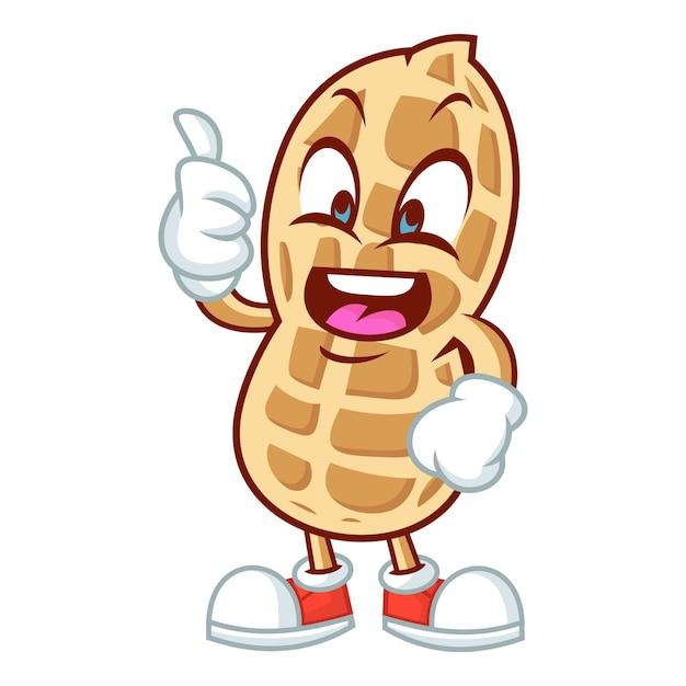Erdnuss-maskottchen-design Premium Vektoren