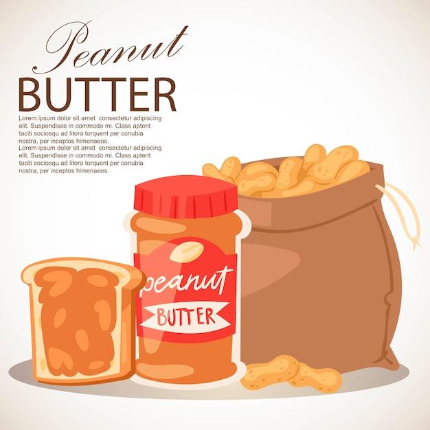 Erdnussbutter-banner. stück brotbutter. brotaufstrich aus gemahlenen, trocken gerösteten erdnüssen. sack voller produkte Premium Vektoren